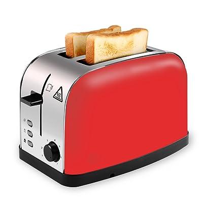 Disques de 2Rouge –-Grille-pain avec fente large en acier inoxydable de Toaster avec tiroir ramasse-miettes amovible, 7de position farbein colorée, affichage à LED, haut Hub Levier pour petits