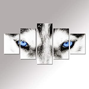 iHAPPYWALL Hello Artwork - Large Canvas Wall Art Black and White Wolf Dog with Blue Eyes Poster Animal Face Head Series 5 Pieces Abstract Picture Painting Home Decor Wall Art