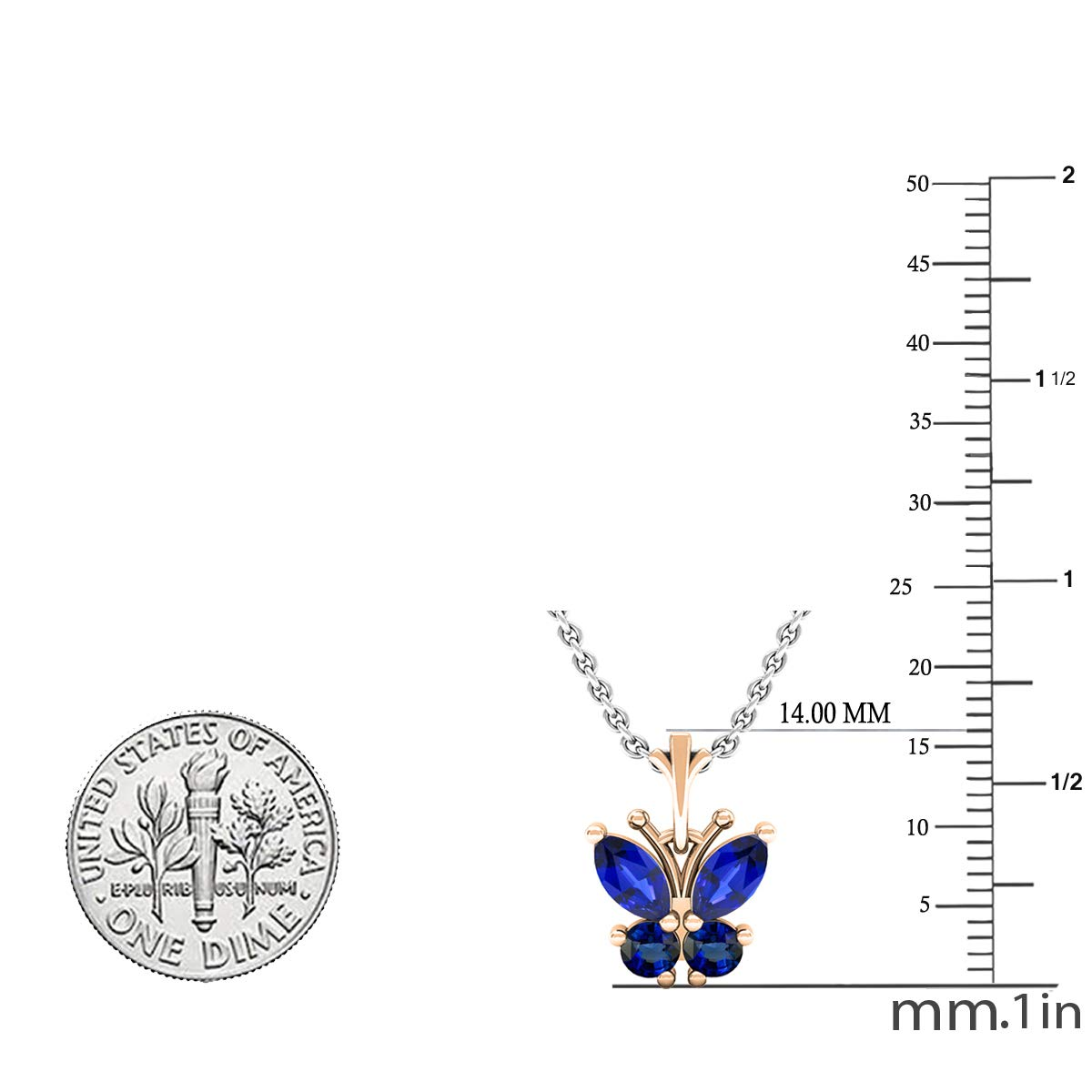 10K Gold Silver Chain Included Dazzlingrock Collection Marquise /& Round Lab Created Gemstone Ladies Butterfly Pendant