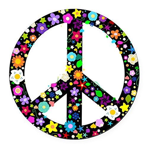 CafePress - Hippie Flowery Peace Sign - Round Car Magnet, Magnetic Bumper Sticker (Round Signs Magnetic)