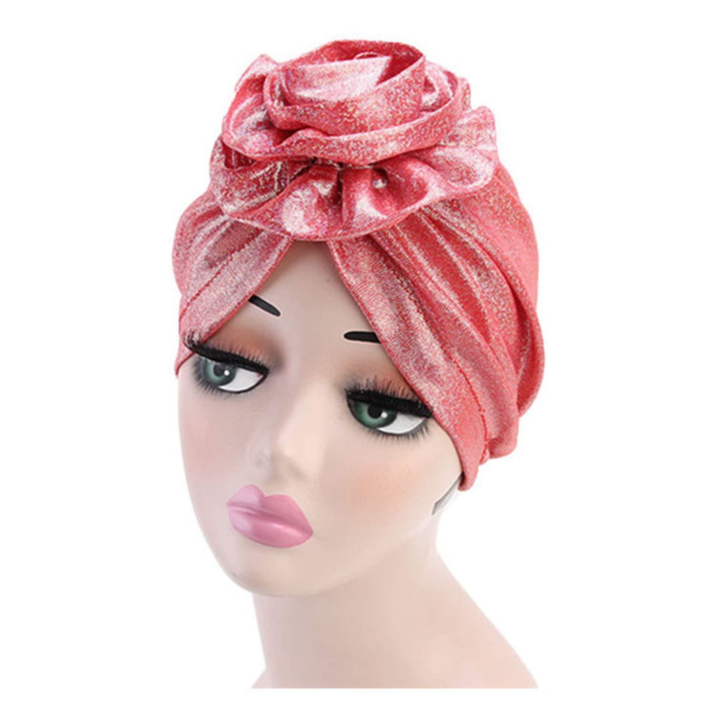Flower Turban Shinny Silk Fashion Women Hat Muslim Ruffle Beanie Scarf Durag Bandana Cap Gold