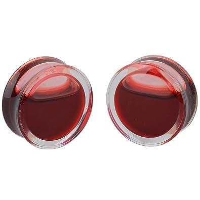 Mayitr 1 par Sangre Rojo Especial Liquid Globe Carne Túnel Oído Plug Stretcher Expander