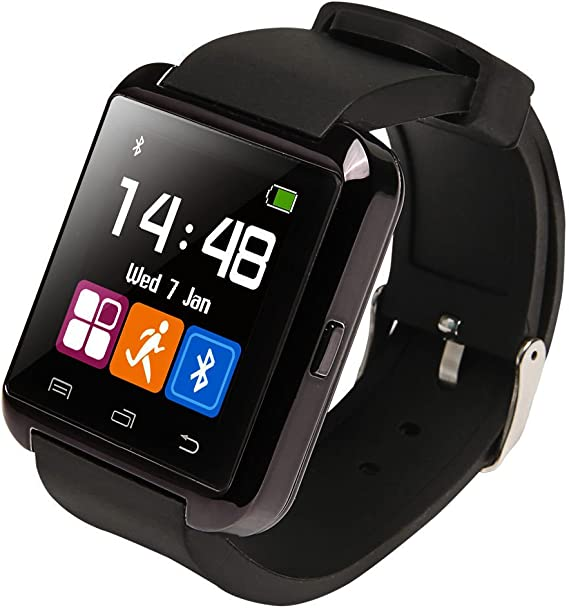 U8 Bluetooth Smart Watch Wristwatch Phone with Camera Touch Screen for Android OS and iOS Smartphone Samsung Smartphone (Black)