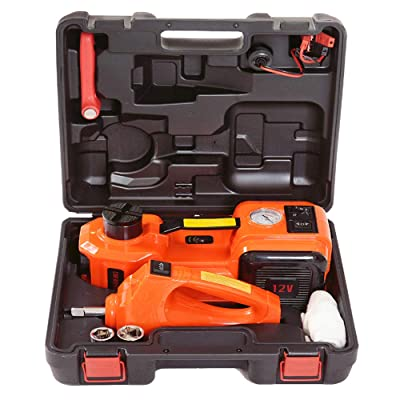 E-HEELP 5.0T(11000lb) 12V DC Electric Hydraulic Floor Jack and Tire Inflator Pump and Elecrtric Impact Wrench with LED Flashlight 3 in 1 Set Tool Kit: Automotive