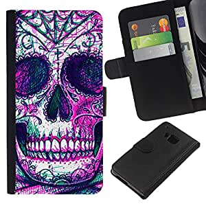 iBinBang / Flip Funda de Cuero Case Cover - Cráneo Esqueleto tinta púrpura del tatuaje - HTC One M9