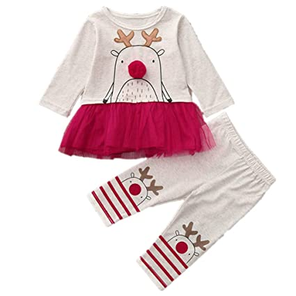 ff30499a4 Amazon.com  Iuhan Baby Christmas Pajamas Outfit for 1-4Years Girls ...