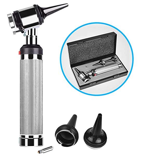 Ear Otoscope Kit - Otoscope Ear Inspect Set, Diagnostic Medical Instrument Otoscope Tool - 2X Magnifying, 2 LED Lamps,3 Speculum Tips Size,Children,Adults, Doctors,Veterinary,Pets Ear Screening