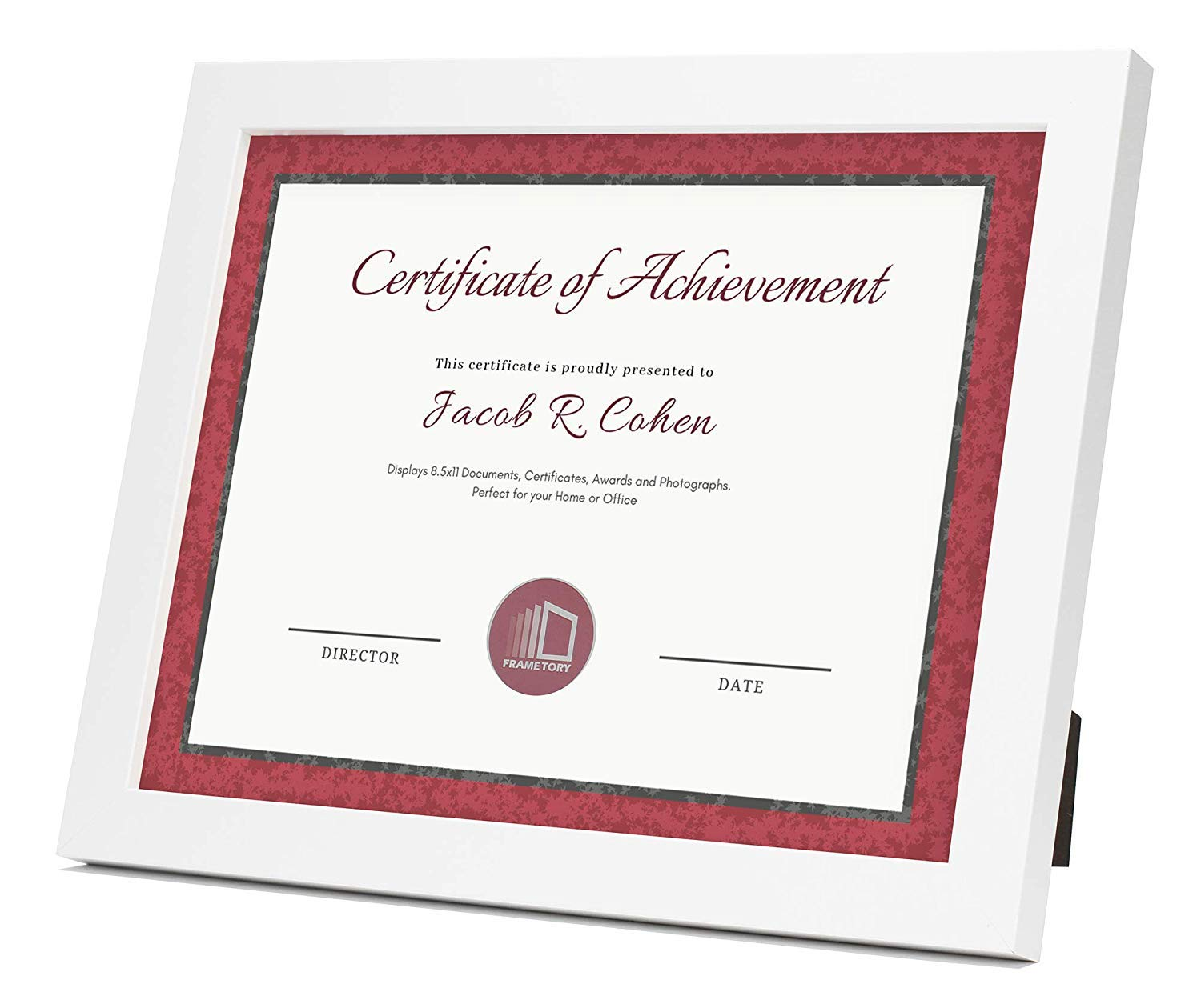 Frametory, Document/Diploma Table-Top Frame for 8.5x11 Picture & Real Glass (White) by Frametory