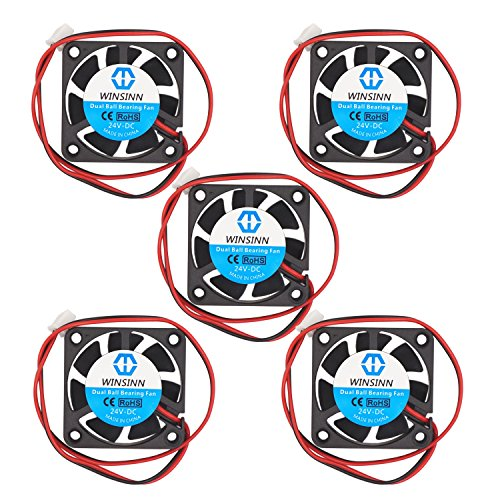 WINSINN 4010 24V DC Dual Ball Bearing Fan 40mm 40x40x10mm Cooling for DIY 3D Printer Extruder Hotend Makerbot MK7 MK8 CPU Chip Arduino - 2Pin 0.1A 1.2W 6000+-10% RPM (Pack of 5Pcs) by WINSINN