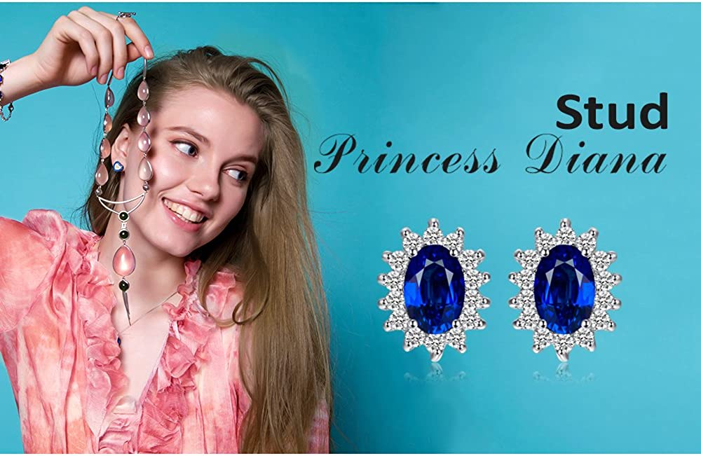 JewelryPalace Princess Diana William Kate Natural Peridot Amethyst Topaz Created Sapphire Emerald Ruby Gemstone Earrings 925 Sterling Silver