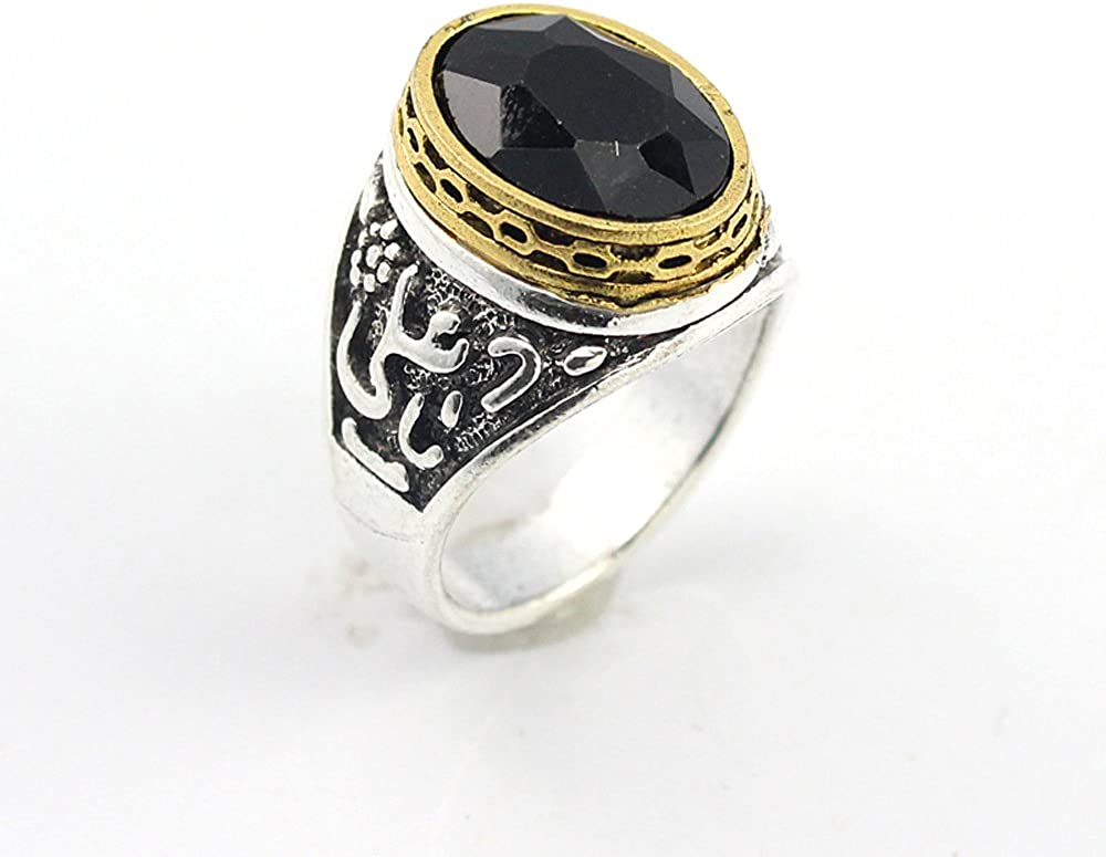 HIGH STONE BLACK QUARTZ FASHION JEWELRY SILVER PLATED AND BRASS RING 9 S22739