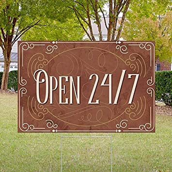 18x12 Victorian Card Double-Sided Weather-Resistant Yard Sign 5-Pack CGSignLab Open 24//7