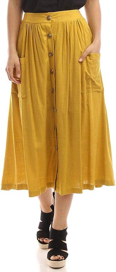 La Modeuse Jupe mi Longue en Lin: : Vêtements et