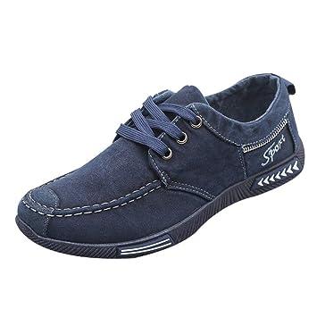 LuckyGirls Zapatos para Hombre Zapatillas de Denim Lona Casual Calzado de Planos Transpirables Informales Bambas con Cordones: Amazon.es: Deportes y aire ...