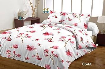 Mako Satin Bettwäsche Set Weiß Rosa Blumen 135x200 Cm Größe 135 X