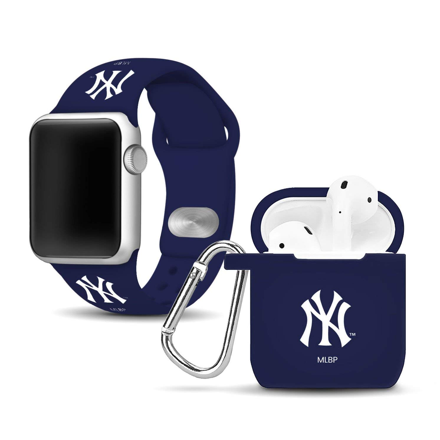 New York Yankees Silicone Watch Band and Case Cover Combo Compatible with Apple Watch and AirPod Case(38mm/40mm) by Game Time