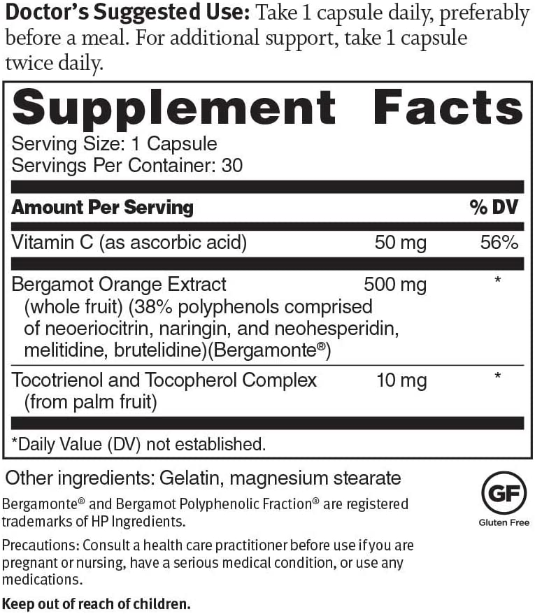 Dr. Sinatra s Advanced Cholesterol Solutions Heart Health Supplement with Citrus Bergamot, 30 Capsules 30-Day Supply
