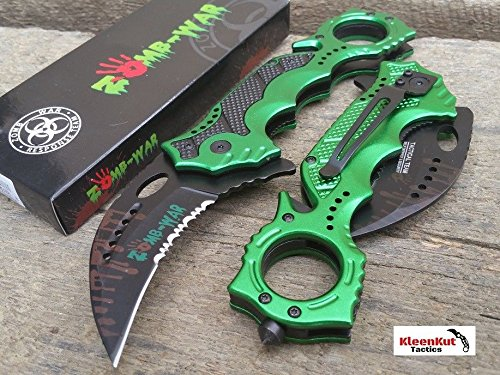 Only US NEW 8″ GREEN Spring Assisted Tactical KARAMBIT Folding Blade Rescue Pocket Knife