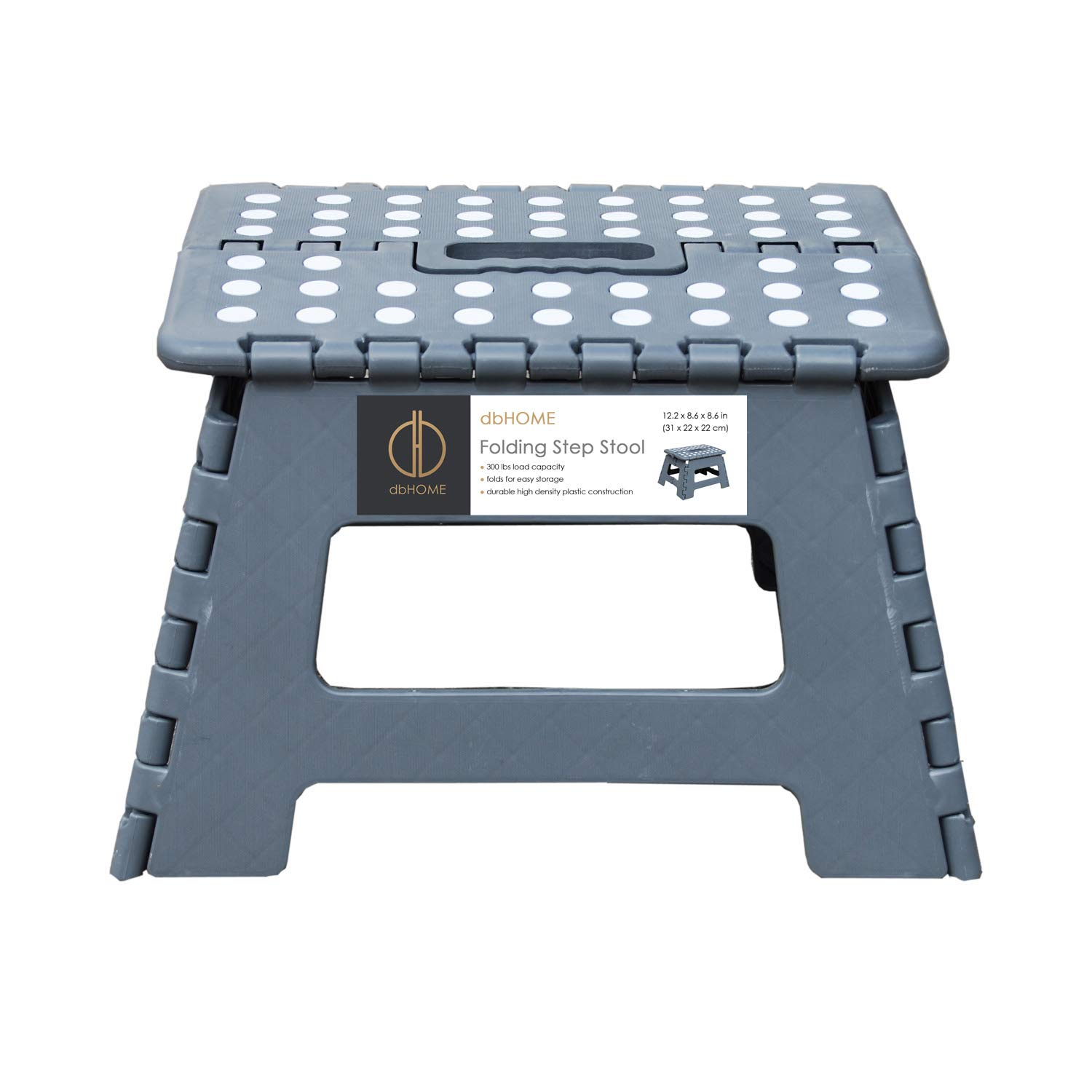 Super Db Living Folding Step Stool Grey With Handle For Kids Children And Adults Stepping Stool 12 Wide And Holds Up To 300Lbs Gray Evergreenethics Interior Chair Design Evergreenethicsorg