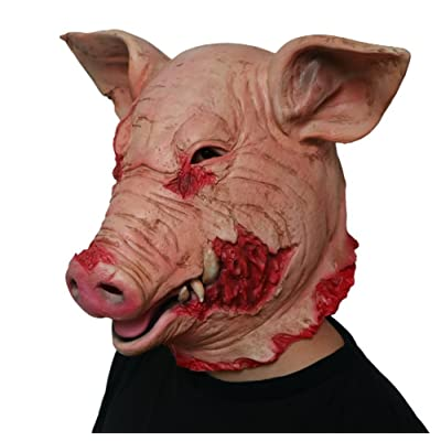 Gmask 2020 Latex Scary Pig Head Mask Halloween Costume: Toys & Games