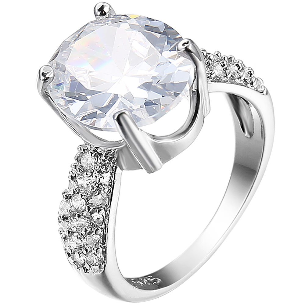 XAHH Jewelry Women's Platinum Plated Ring White Crystal Oval Cubic Zirconia CZ Engagement Wedding Band 7