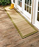 The Lakeside Collection 72'' Indoor/Outdoor Border Runner Rug-Sage