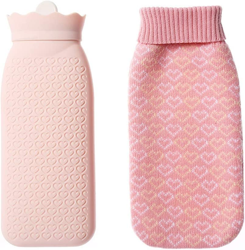 Microwave Heating Bottle Environmental Silicone Transparent Hot Water Bottle Hot Water Bag with Knit Cover, Hot & Cold Therapies(Pink)