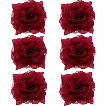 6ead4adaca3 Anleolife 6pcs/lot Fabric Big Flower Hair Clips 7 inch Diameter,Flower  Corsage Brooch