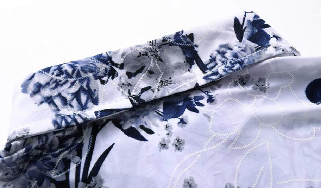 Domple Mens Short Sleeve Floral Print Formal Cotton Plus Size Button Down Blouse Shirt