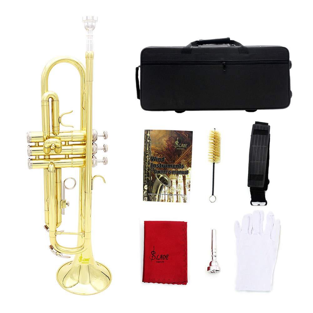 PinShang Brass Bb Trumpet Kit Set for Professional Beginner Gold