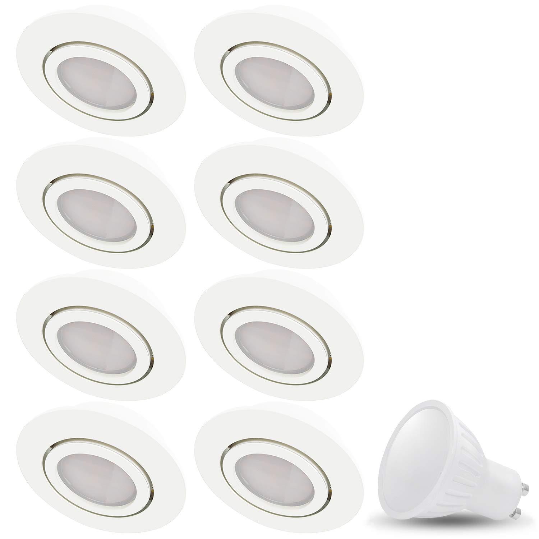 LED Einbaustrahler Schwenkbar COSMO Rund Matt-Weiss Inkl. 8 X 7W LED Warmweiss 230V IP20 Deckenstrahler Einbauleuchte Deckeneinbaustrahler Einbauspot Deckeneinbauleuchte Deckenspot