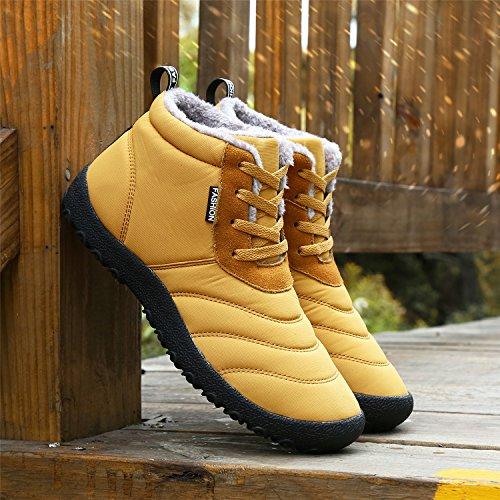 Boots Pelliccia UMmaid Invernali Donna Stivaletti Giallo Uomo Neve Caviglia Scarpe Impermeabile Stivali Caldo Stringate qUU7zwZx