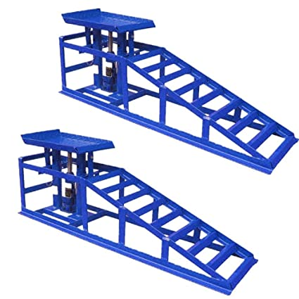 Set of 2 MCTECH Metal Vehicle Car Ramps With 2 Ton Hydraulic Jack Lift Car Hydraulic Ramp Car Maintenance Ramps Height Adjustable For Garage Heavy Duty Vehicle Van