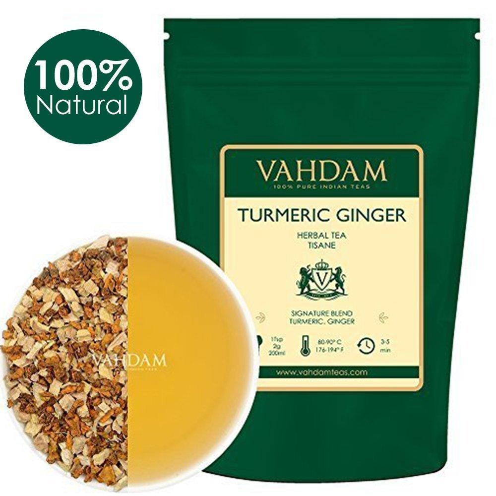 VAHDAM, Turmeric Ginger Herbal Tea Tisane (100 Cups), 3.53oz (Set of 2),India's Original Detox Tea, ABUNDANT IN ANTI-OXIDANTS & NUTRIENTS - Healing, Rejuvenating & Energizing, Grown & Packed in India