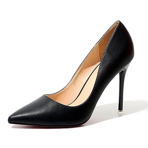 De Negro Moda Mujer Zapatos Salón Alto Tacón XxHZPqWd
