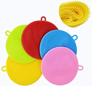 AOLANS Silicone Dish Sponge Washing Brush Silicone Scrubber 5 Pack sponges Kitchen Vegetable Brush Household Cleaning Sponge Kitchen Accessories Food Grade kitchenware Brush (5 Color)