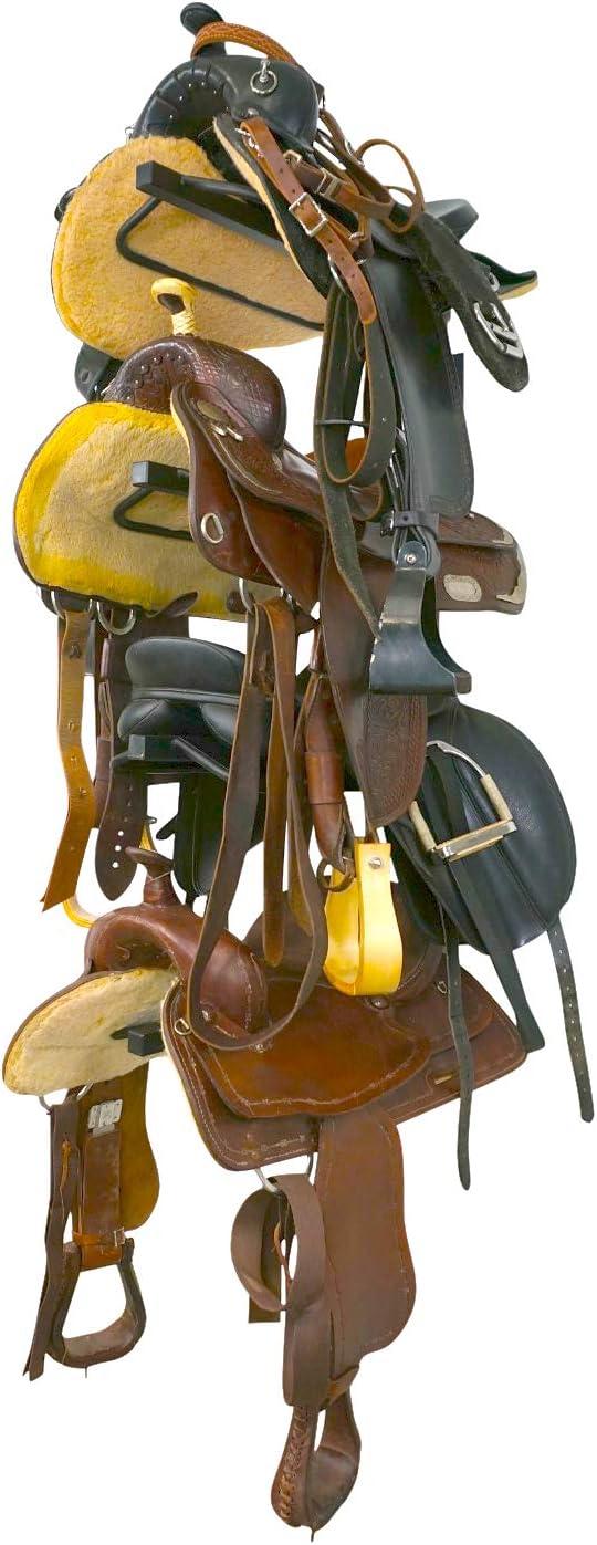 StoreYourBoard Rack de Almacenamiento de Silla de Montar para Caballo, Soporte de Silla de Montar Ecuestre montado en la Pared, Contiene 4 sillas de Montar Occidentales e inglesas