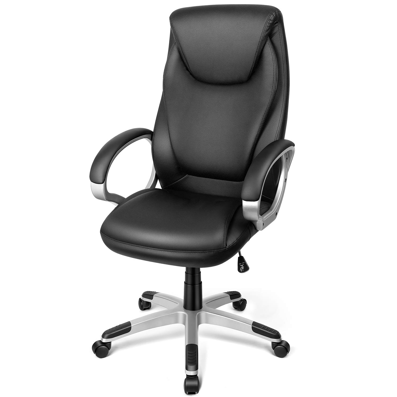 TUSY-Office Chair Desk High-Back Executive Swivel Chair Computer Chair Black with Back Support and Armrest in Home Office