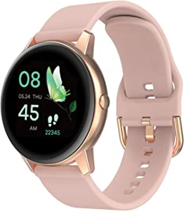 Smart Watch for Women, Smartwatch for Android Phones and iPhone Compatible, Waterproof Fitness Tracker with Blood Pressure and Heart Rate Monitor, Sleep Tracking, Touch Screen, Round, 2021, Rose Gold