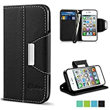 iPhone 4 Case,Vakoo iPhone 4 Flip Cover Premium PU Leather Wallet Credit Card Holder Folio Stand Case for Apple iPhone 4 4S With a Wrist Strap – Black