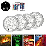 LED Underwater Light 4pcs, ZOTO Multicolour Changing Submersible Lamp with Remote Control,Battery Powered Water Decoration Lights for Fish Bowl,Pond,Swimming Pool,Christmas,Halloween,Wedding,Party