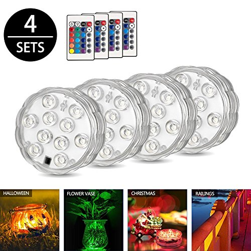 Underwater light, ZOTO Submersible LED Lights, Waterproof RGB Pond Light Remote Control, Battery Powered Water Decoration Lights for Fish Bowl, Swimming Pool, Wedding,Party, Vase Base,4 Pack
