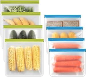 Reusable Storage Bags - 8 Pack BPA FREE Freezer Bags (4 Reusable Gallon Bags + 4 Leak-Proof Reusable Sandwich Bags) Food Grade PEVA Lunch Bags for Food Marinate Meat Fruit Cereal
