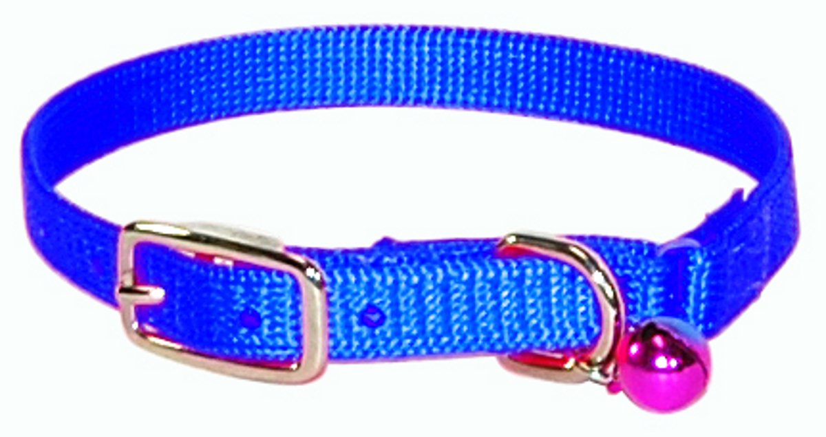 Hamilton Safety Cat Collar with Bell, Blue, 3/8'' Wide x 14'' Long
