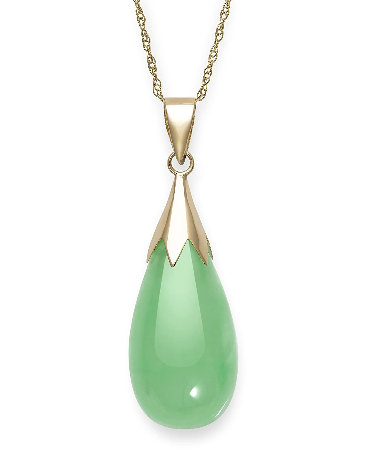 Natural Green Jade Teardrop Pendant Chain Necklace in 10K Gold,18 18 Belacqua P-5999Y10-AM