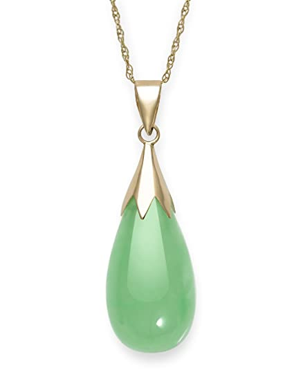 a0ab3f3391107f Natural Green Jade Teardrop Pendant Chain Necklace in 10K Gold,18