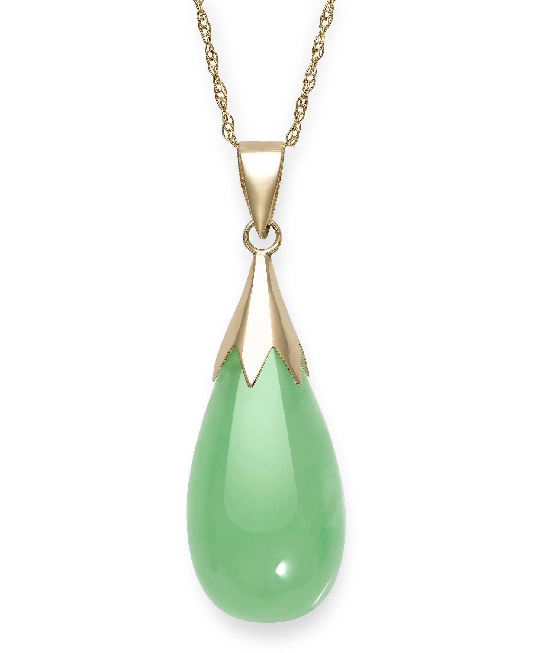 10k Yellow Gold Unisex Natural Green Jade Teardrop Pendant Chain Necklace,18''