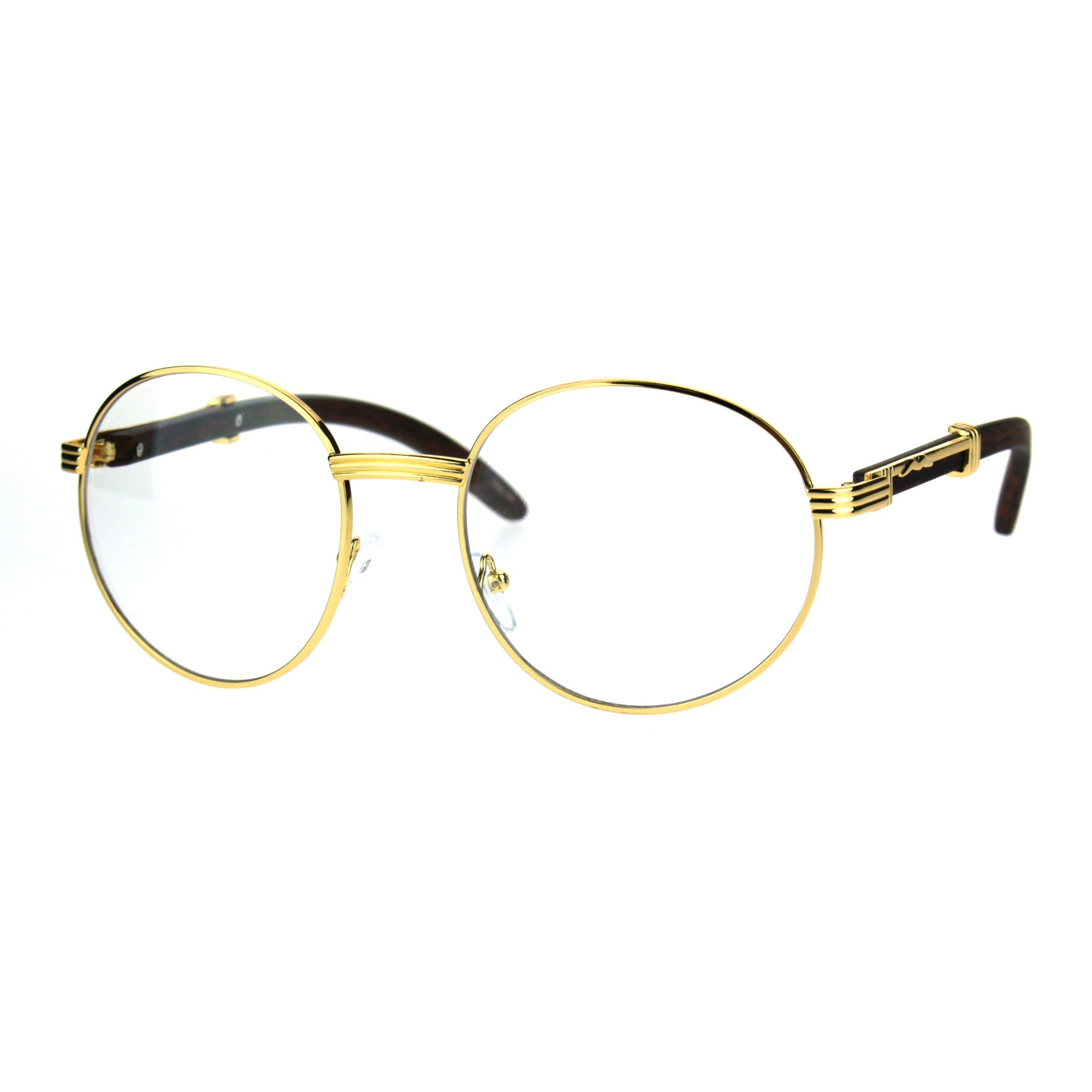SA106 Retro Art Nouveau Vintage Style Small Metal Frame Eyeglasses Round Yellow Gold by SA106