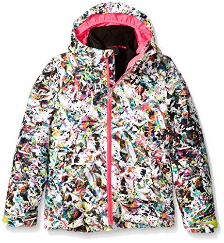 (Spyder Girls Reckon 321 Jacket, Medium, Kaleidoscope White Print/Voila/Acid)