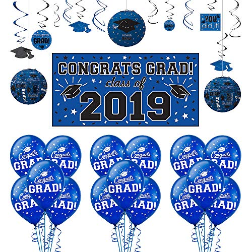 Party City Congrats Grad Blue Graduation Decorating Kit with Balloons, Includes a Banner, Balloons, and Hanging Décor